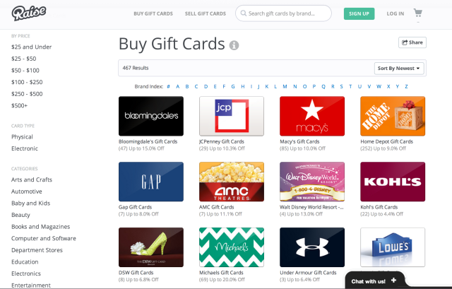 RAISE GIFTCARD: Save $10 off Starbucks, Lowe's, Home Depot and more