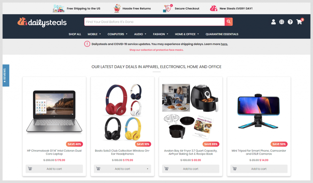 DAILYSTEALS: Shop Daily Steals for discounts and deals on cellphones, designer fashion, home goods, electronics and everything in between. Get FREE SHIPPING on all
