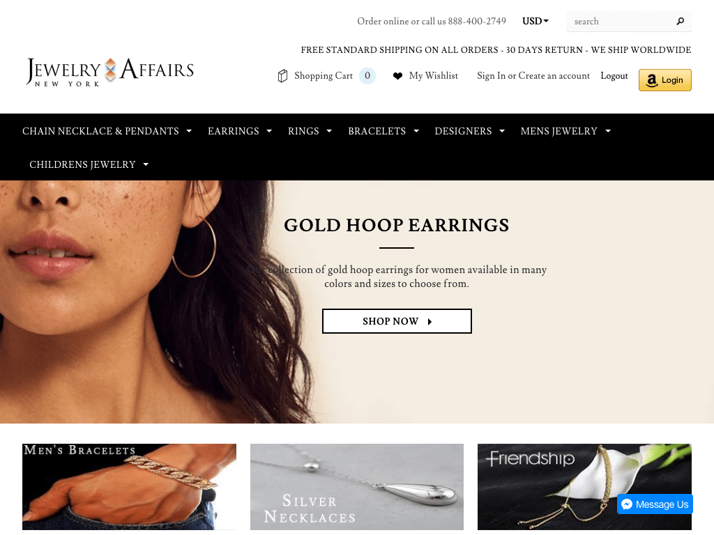 JEWELRYAFFAIRS: is a family online jewelry store based in New York city offering necklaces, earrings. bracelets, rings, charms and many more in gold and silver.