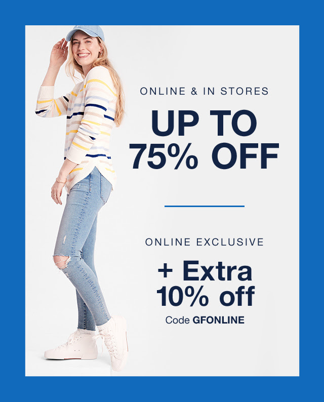 GAP FACTORY: Up to 75% off + extra 50% off clearance