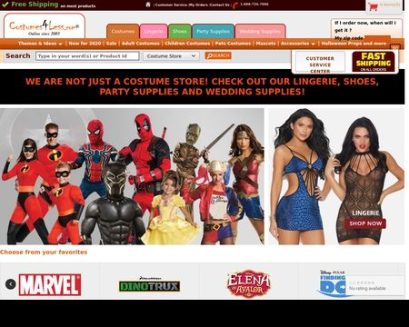 COSTUMES4LESS: Largest selection of Halloween Costumes & Accessories, Shoes, Lingerie, Party and wedding