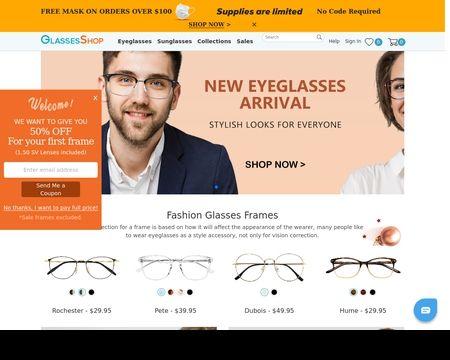 GLASSESSHOP: Buy glasses online, fashion glasses frames with high-quality lenses offer you sharper vision. Prescription glasses sale, get the new look now!