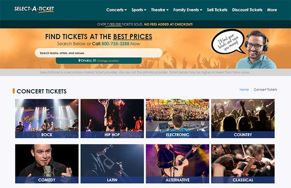 SELECT A TICKET: offers you the chance to purchase tickets with no hidden fees!