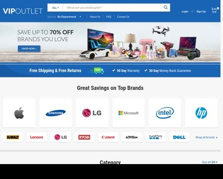 VIP OUTLET:  Up to 70% off top brands. 90 day warranties, 30 day free returns and fast free shipping. Become a VIP for free today!