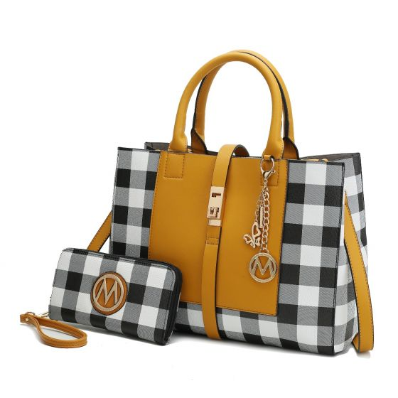 MKF Collection: YULIANA 2 PC SET CHECKERED SATCHEL WITH WALLET $41.49