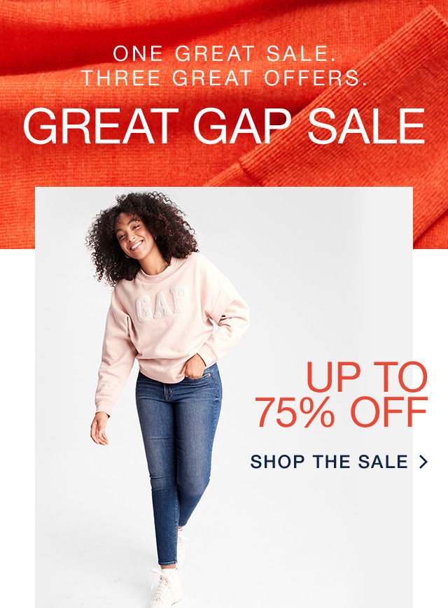 GAP Factory: Clock's ticking! Great Gap Sale ends soon. Up to 75% off