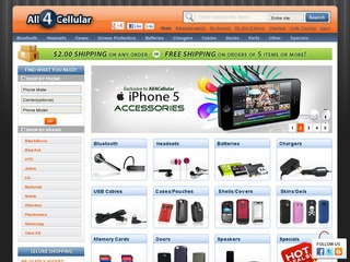 ALL4CELLULAR: 20% off cellphone accessories, including bluetooth headsets, cell phone chargers