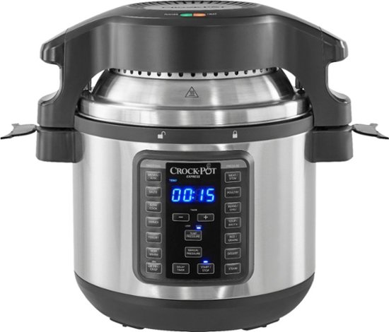 BEST BUY: Crock-Pot – 8-Qt. Express Crock Programmable Slow Cooker and Pressure Cooker with Air Fryer Lid – Stainless Steel   $79.99