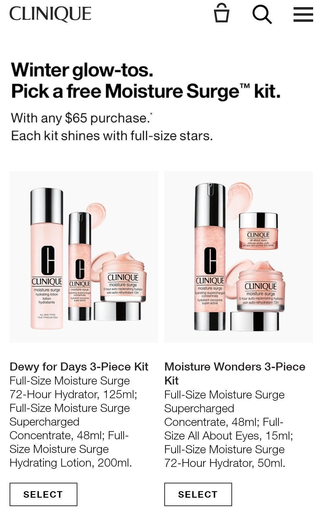 CLINIQUE: Get free moisture surge kit with any $65 purchase.