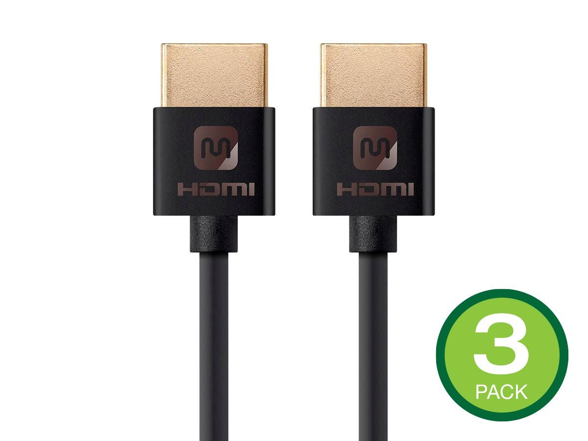 MONOPRICE: Monoprice 4K Slim High Speed HDMI Cable 1ft – 18Gbps Black – 3 Pack $3.99