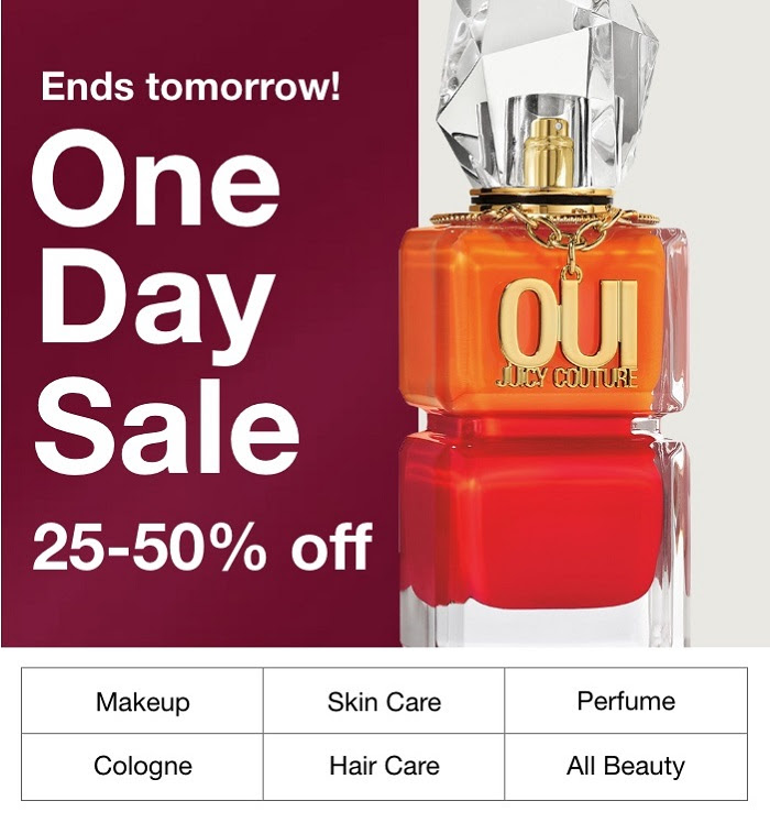 MACY'S:  25-50% off skin care & scents you love! Ends tomorrow!