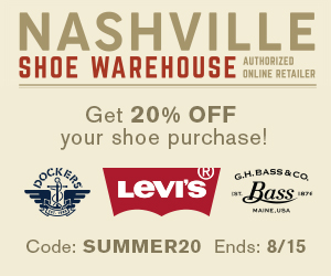 NASHVILLE SHOE WAREHOUSE : Get 20% off on shoes purchase with code: SUMMER20